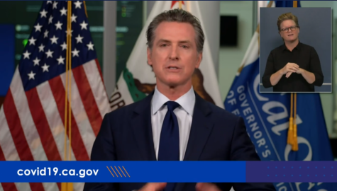 California Governor Gavin Newsom delivers an address via live stream to Californians regarding ongoing wildfires and COVID-19 on Tuesday, Sept 8.
