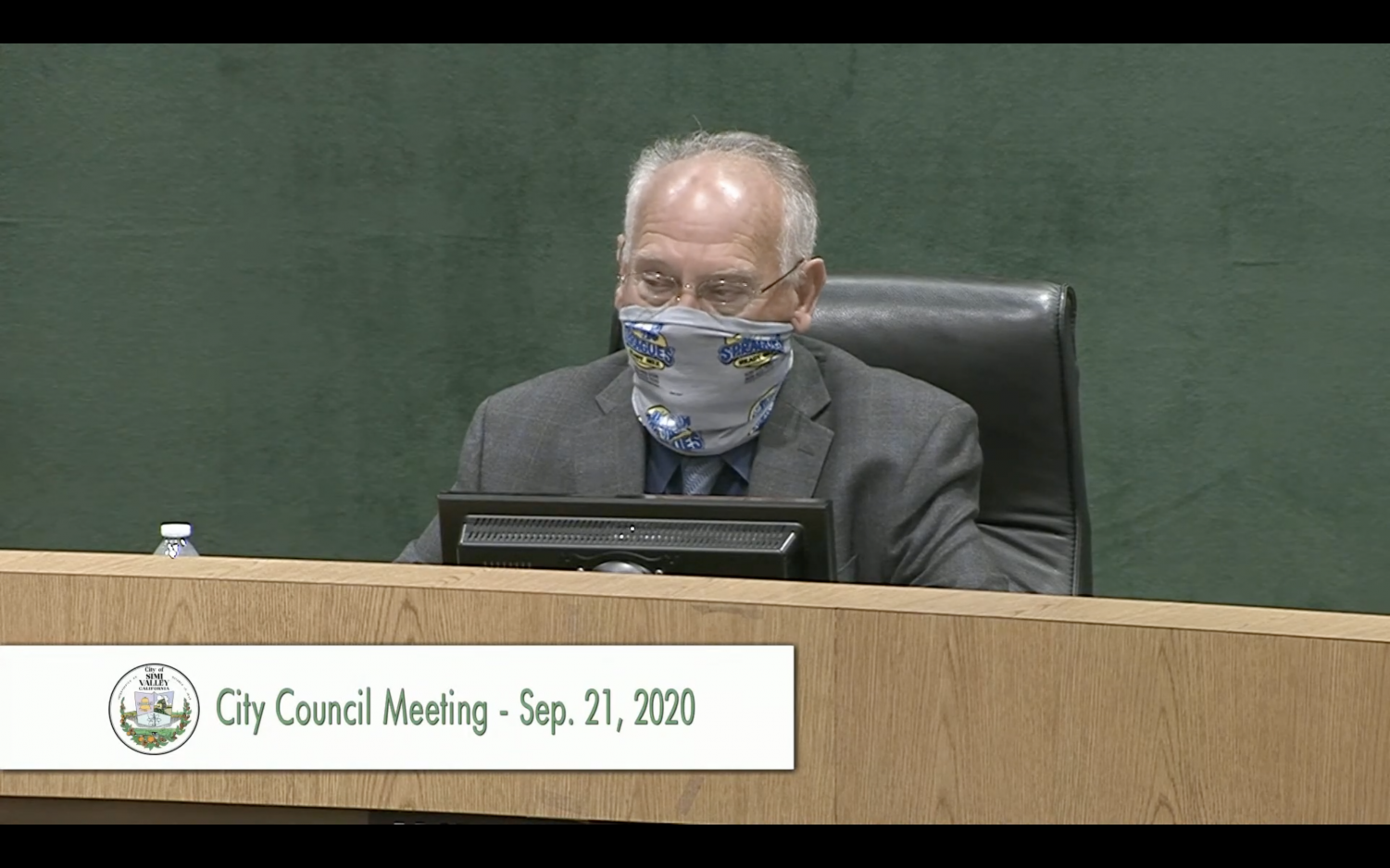Simi Valley Mayor Keith Mashburn starts the City Council meetong on Sept. 21, in Simi Valley, CA.