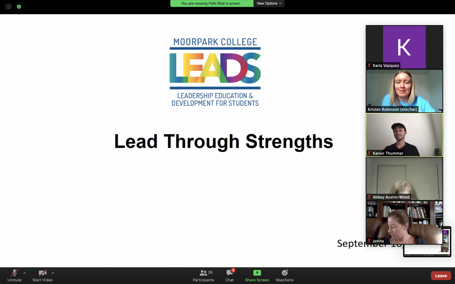 Kristen Robinson, student activities specialist for Moorpark College, leads MC L.E.A.D.S second workshop of the semester.