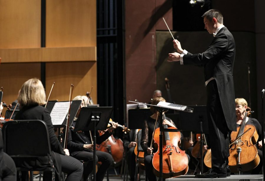 "Professor Brandon Elliott conducted the Symphony Orchestra playing &squot;Schicksalslied, Op. 54&squot; during the ""Hope of Loving"" concert at Moorpark College on Friday, Nov. 22 2020. Photo credit: Ryan Bough"