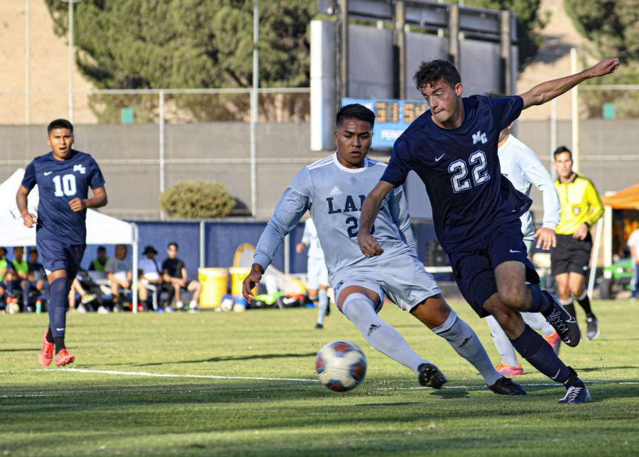 Forward Alec Silva steals the ball away from the LA Mission Eagles during the home game at Moorpark College on Tuesday, Nov. 5. Moorpark lost to LA Mission 2-4. Photo credit: Ryan Bough