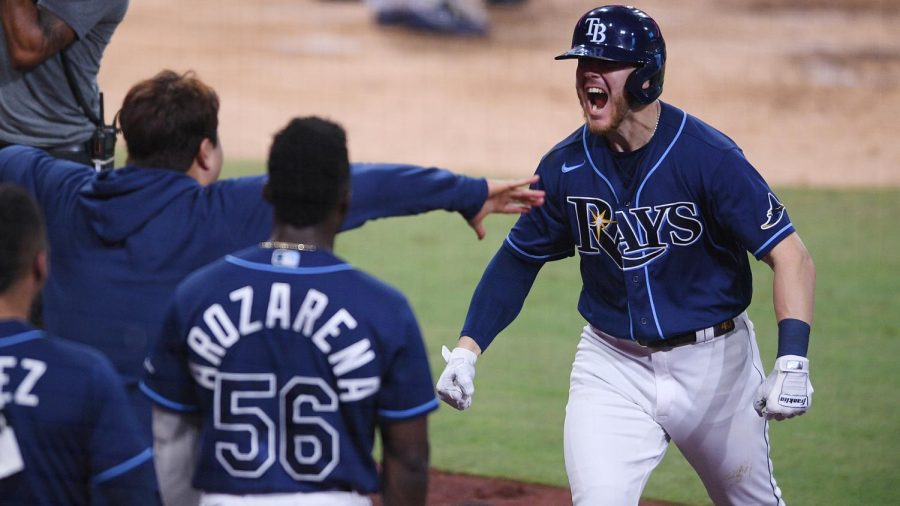 Tampa Bay Rays first baseman Michael Brosseau (43) celebrates teammates after hitting a home run against the New York Yankees during the eighth inning of game five of the 2020 ALDS at Petco Park. Photo Credit: Orlando Ramirez-USA TODAY Sports