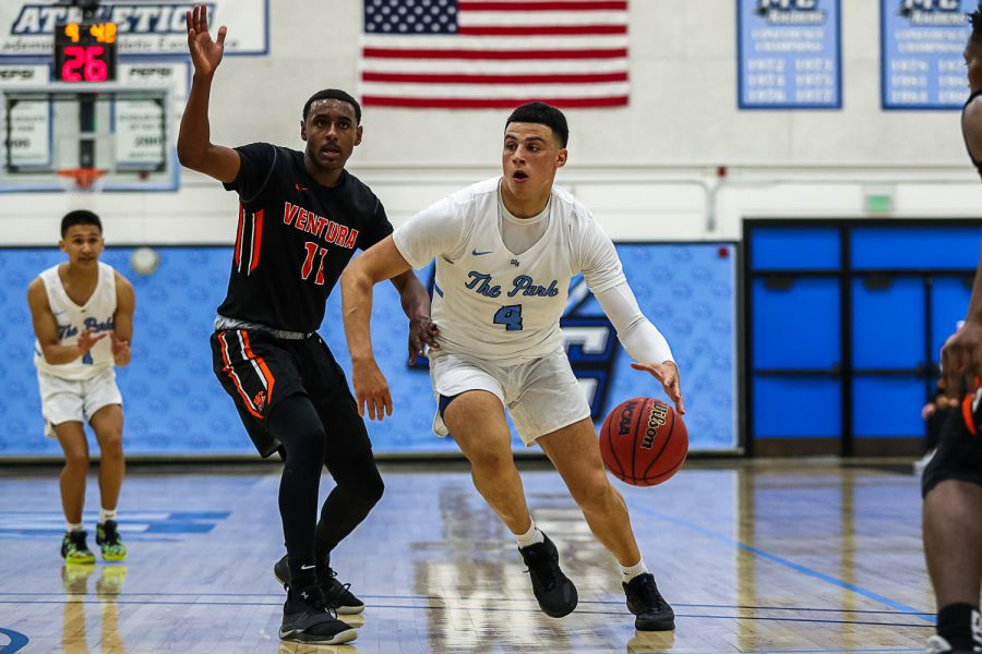 Mason Johnson makes a move toward the hoop as he tries to lessen Moorpark's deficit against Ventura College late in the game on Saturday, January 18.  Ventura defeated Moorpark 97-91. Photo credit: Jace Kessler