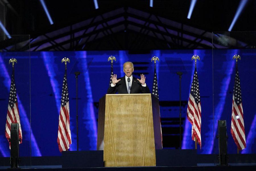 President-elect Joe Biden speaks in Wilmington, Del., on Nov. 7, 2020. Photo by Andrew Harnik / AP pool