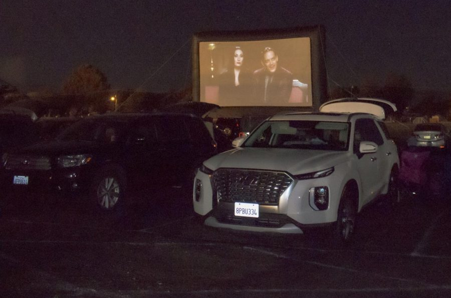 Cars are parked in front of the big screen to watch 'The Addams Family' at Rancho Santa Susana Community Park on Thursday, Oct. 29. Photo credit: Caitlin McHale