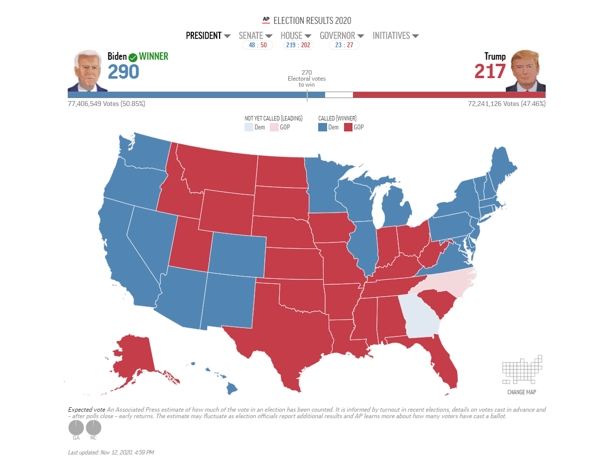 2020 presidential map via the Associated Press