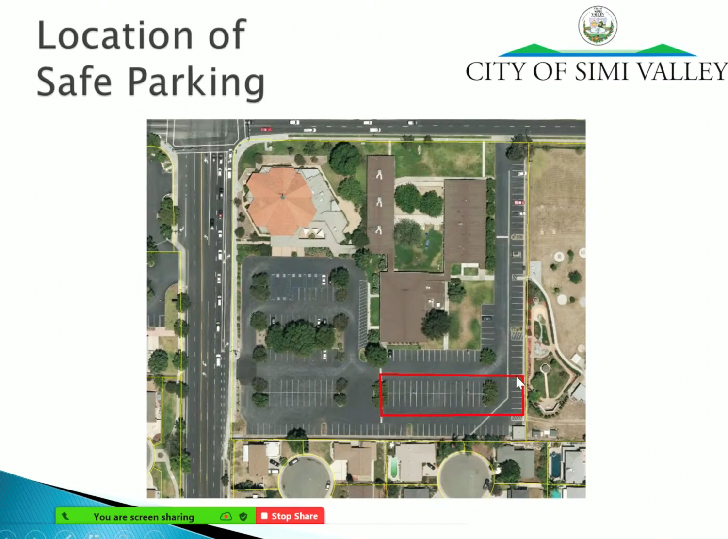 A slide during the City council meeting on Nov. 9, shows where the safe parking will take place.