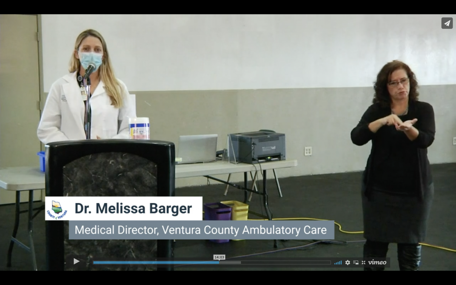 Melissa Barger, medial director, speak from a health care providers' perspective to remind everyone the importance of ongoing safety during the pandemic