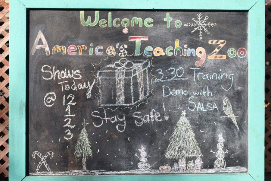 The welcome sign to the America's Teaching Zoo including all the show times and demonstration time. Photo credit: Audrey Lang