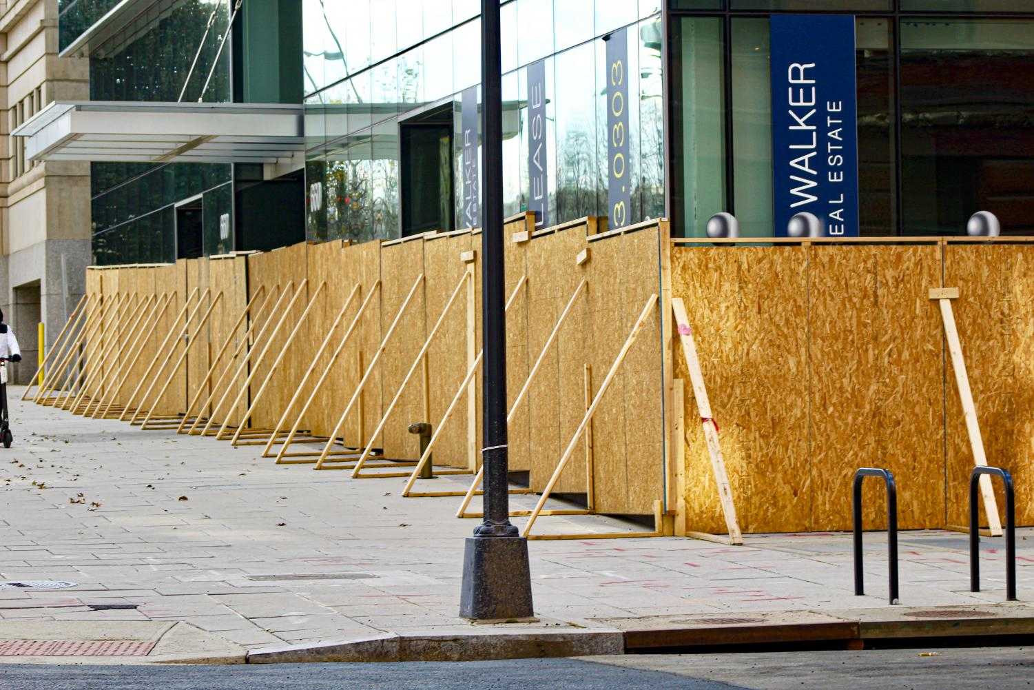 Buildings around the Capitol were boarded up before the Inauguration on Jan. 21, in Washington D.C.