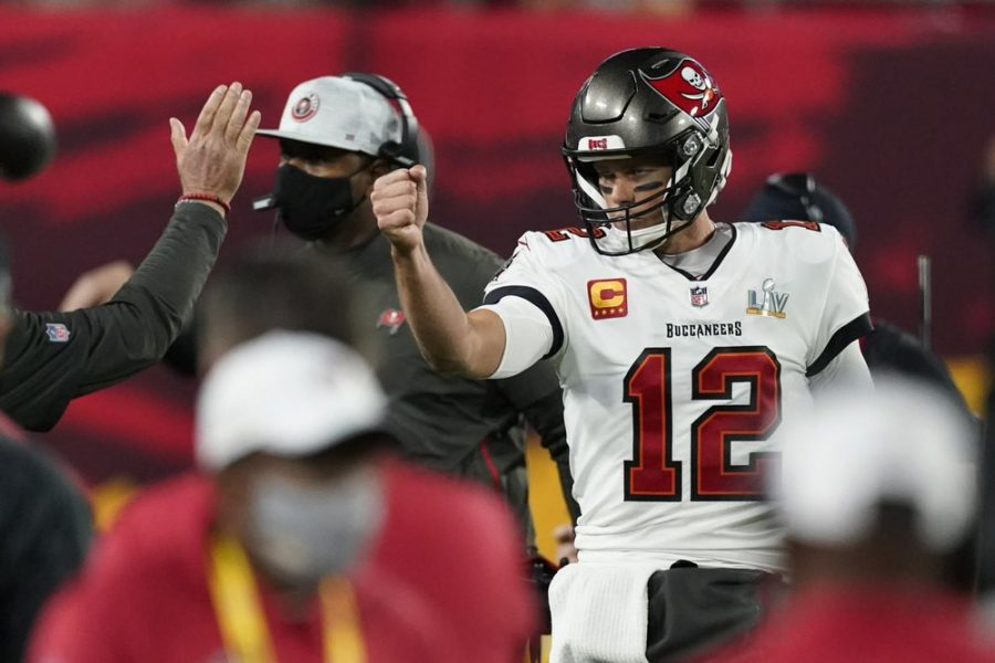 Tampa+Bay+Buccaneers+quarterback+Tom+Brady+celebrates+after+his+team+scored+a+touchdown+against+the+Kansas+City+Chiefs+during+the+first+half+of+the+NFL+Super+Bowl+55+football+game+Sunday%2C+Feb.+7%2C+2021%2C+in+Tampa%2C+Fla.+%28AP+Photo%2FAshley+Landis%29