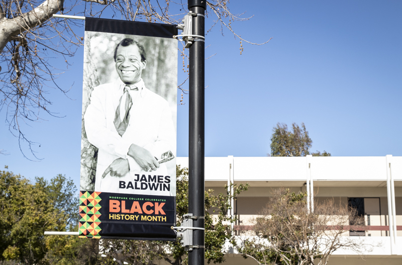 Poster of James Baldwin is placed in the quad of Moorpark College on Tuesday, Feb. 4, 2020. Multiple posters were placed around Moorpark college to celebrate Black History Month last year. Photo credit: Evan Reinhardt