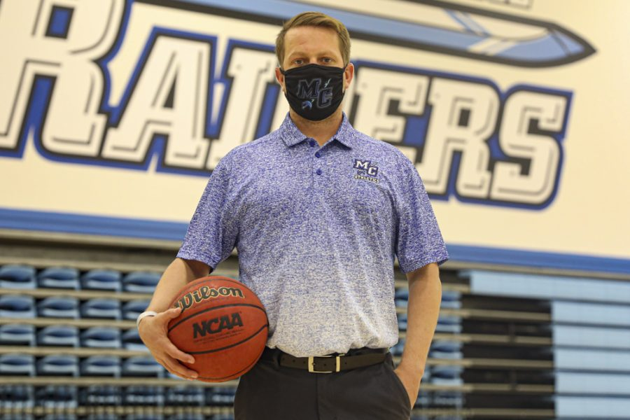 Moorpark College Athletic Director, Matt Crater, poses in the Raider gym at Moorpark College on Monday, Feb. 22, 2021. Photo credit: Ryan Bough
