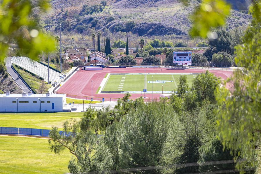 The Raider football stadium remains empty on Saturday, Feb. 6, 2021 at Moorpark College. No sports competitions have been played at the stadium in over a year due to the COVID-19 Pandemic. Photo credit: Ryan Bough