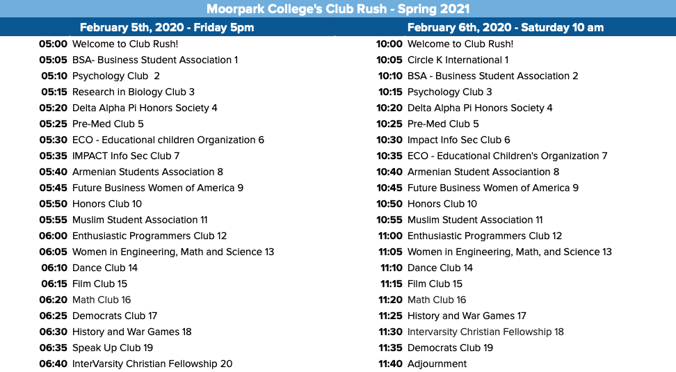 Schedule of the 2021 virtual Spring Club Rush provided by ASMC