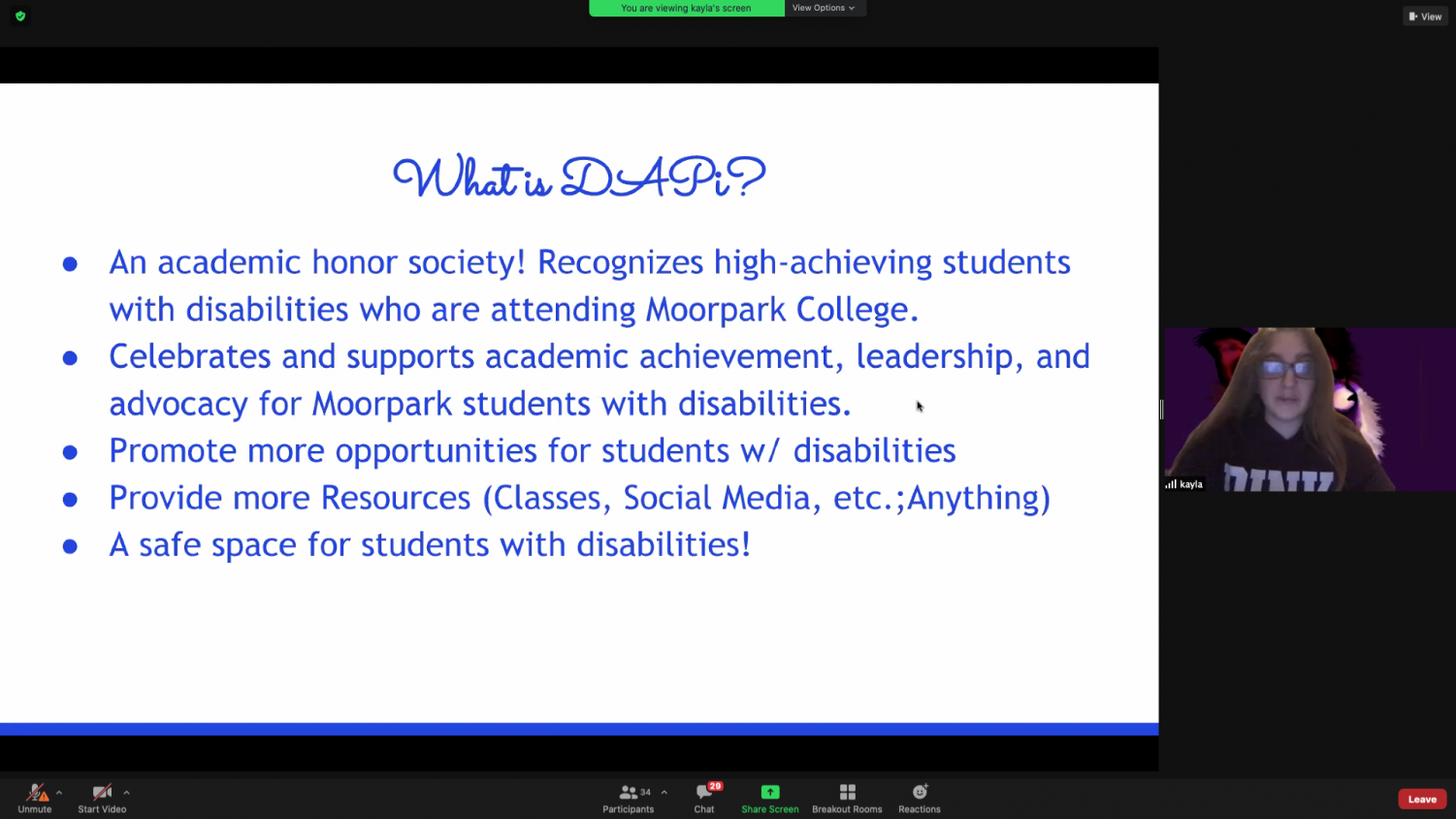 Screen shot from the virtual spring semester Club Rush on Feb. 5 and Feb. 6 over Zoom.