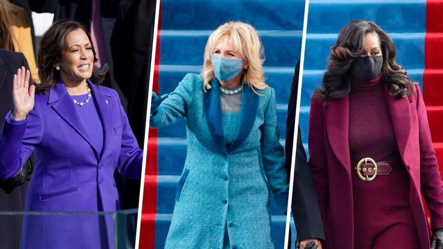 Vice President Kamala Harris, First Lady Dr. Jill Biden, former First Lady Michelle Obama attend the Inauguration Day ceremony in Washington, D.C. on Jan. 20, 2021. Illustration via NBC
