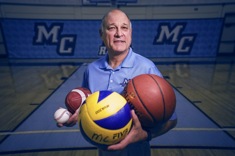 Vance Manakas, Athletic Director, shows his equal focus on all sports at Moorpark College Photo credit: James Schaap