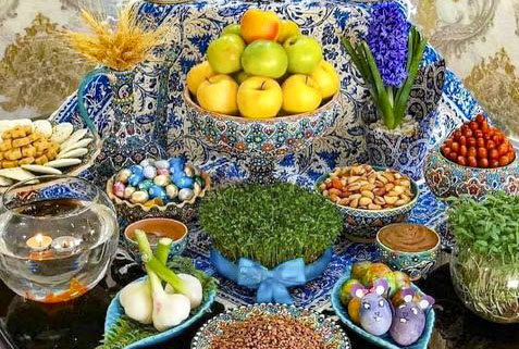 The Haft-Seen table represents nature during the Persian New year on March. 20, 2021. Photo credit: Erfan Malakooti