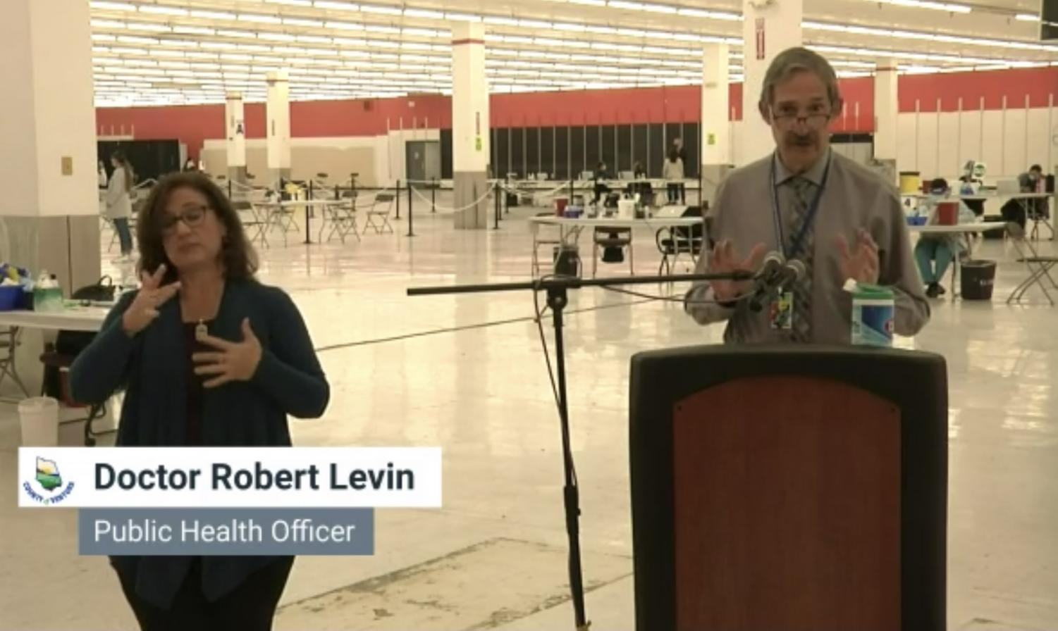 Public Health Officer, Doctor Robert Levin, speaking at Wednesday's COVID-19 press conference in Santa Paula, CA. On March 24, 2021.