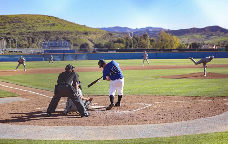 Dylan Kramer swings at a pitch during a home game against LA Mission college on Jan. 28, 2020 at Moorpark College. Photo credit: Ryan Bough