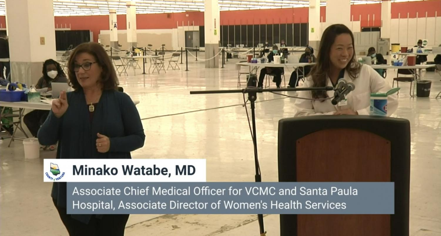 Chief Medical Officer for VCMC and Santa Paula Hospital, Director of Women's health services, speaking at Wednesday's COVID-19 press conference in Santa paula, CA. On March 24, 2021