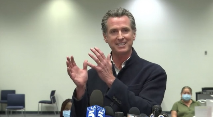 California Governor Gavin Newsom speaking at Wednesday's COVID-19 press conference on March 3 in Ventura County.