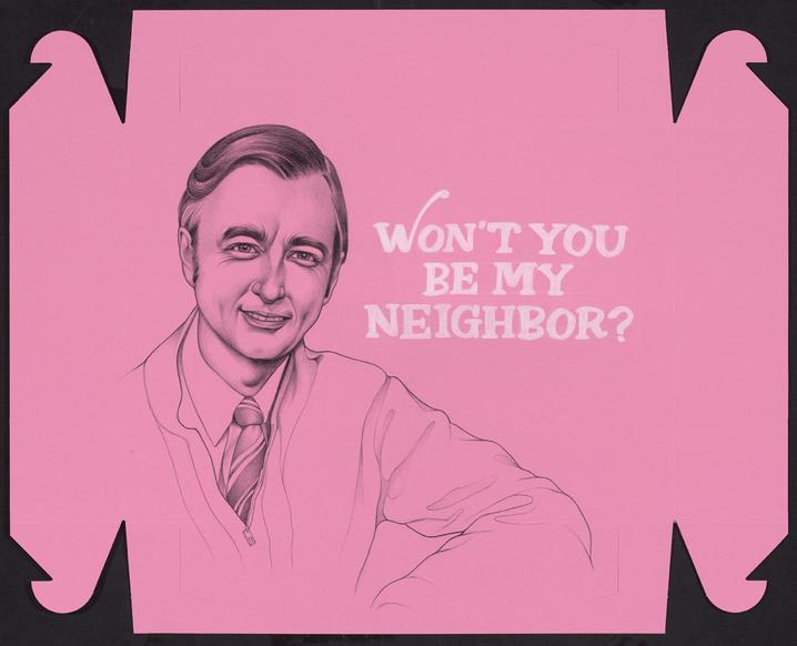 Drawing of Mr. Rogers on Pink Donut Boxes and Tracing the Stories of Cambodian and Vietnamese Refugees