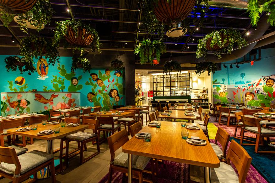Mural commission for Roy Choi's Best Friend Restaurant by artist at Park MGM, Las Vegas. photographs of the mural were taken by Travis Jensen