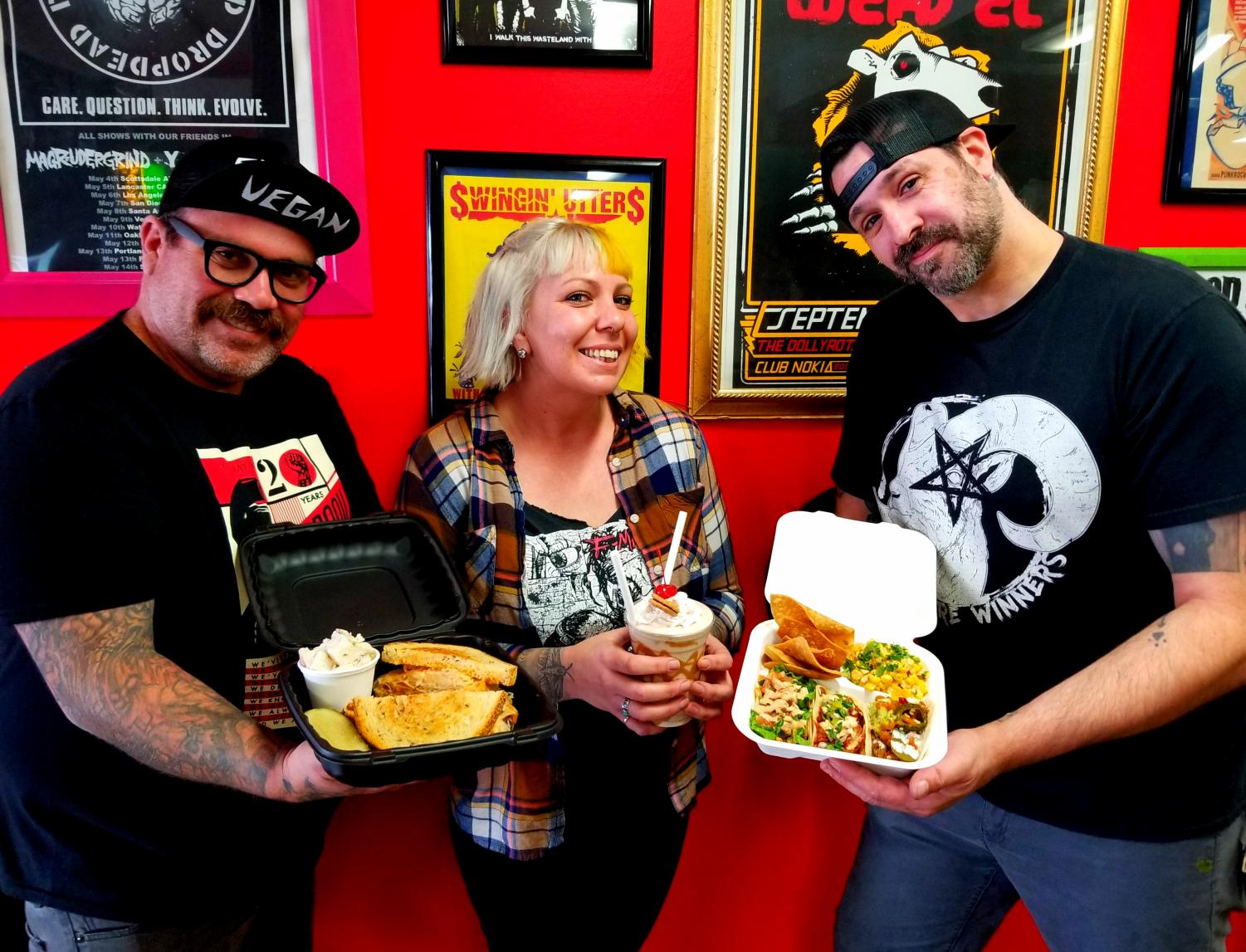 Fatty Vegan restaurant owners  Jon Shiner (left), Candice Shimer (middle) and Sean Kingsbury (right).