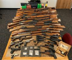 Contraband is lined up on a table for a photo.