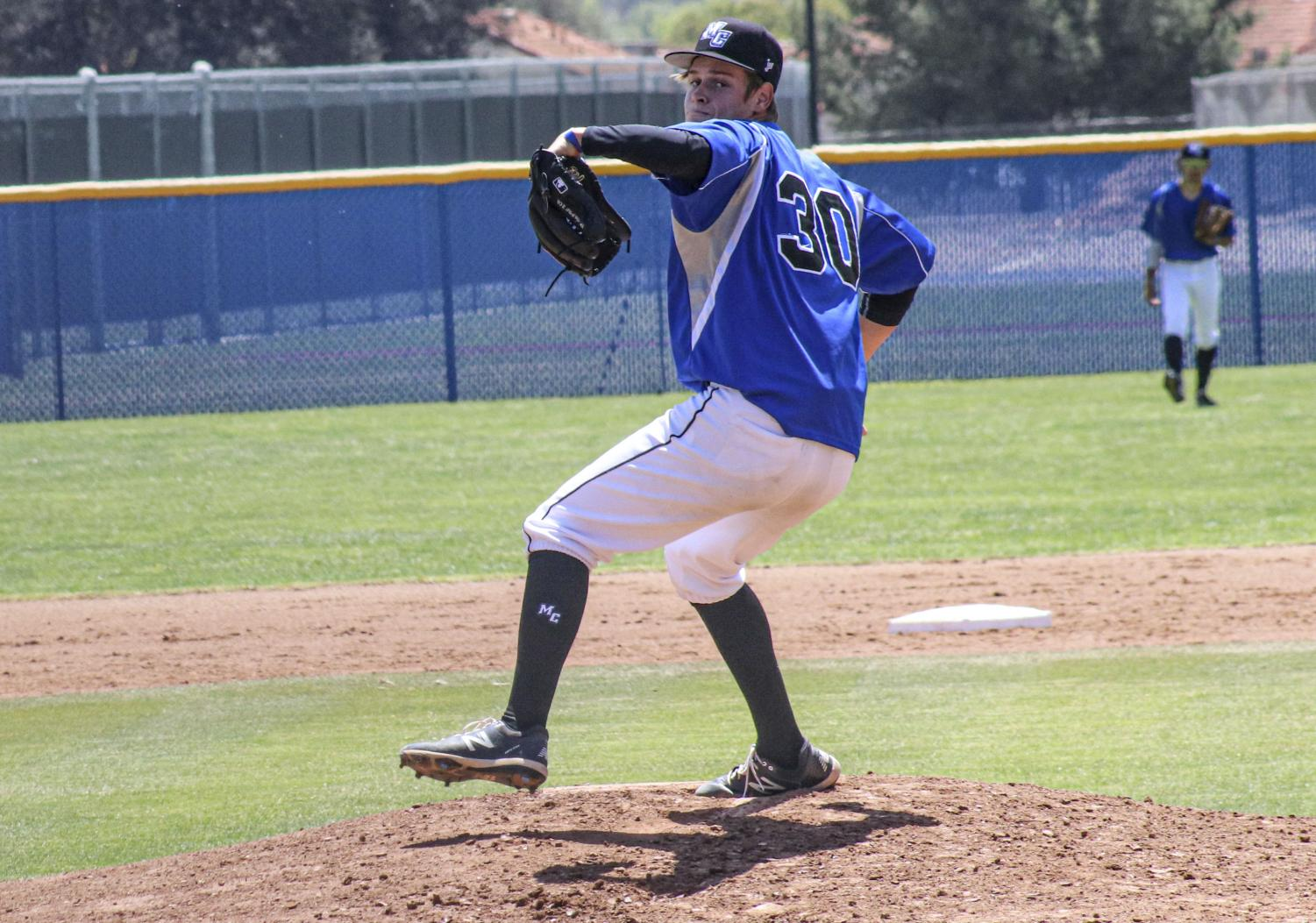 Freshman pitcher Garret Yawn winds up in his first start for the Moorpark Raiders against the Ventura Pirates on April 15. Yawn finished with two earned runs in four innings of play.