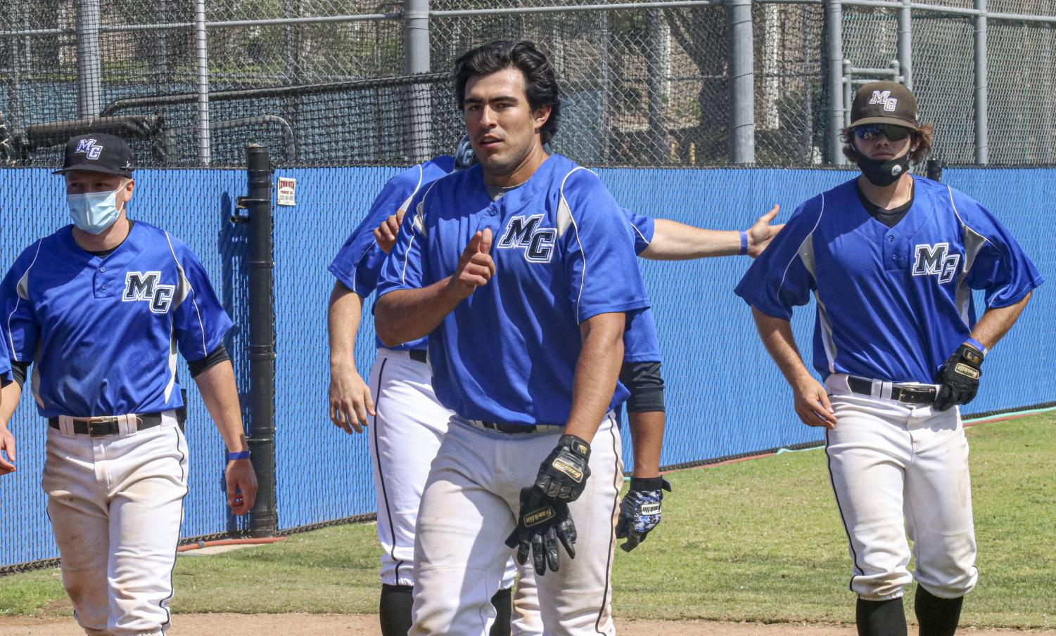 Moorpark's sophomore infielder Alex Vega poses for a picture after his game-winning RBI single to right field versus Ventura College on April 15. Vega finished the day with two hits, an RBI and a walk.