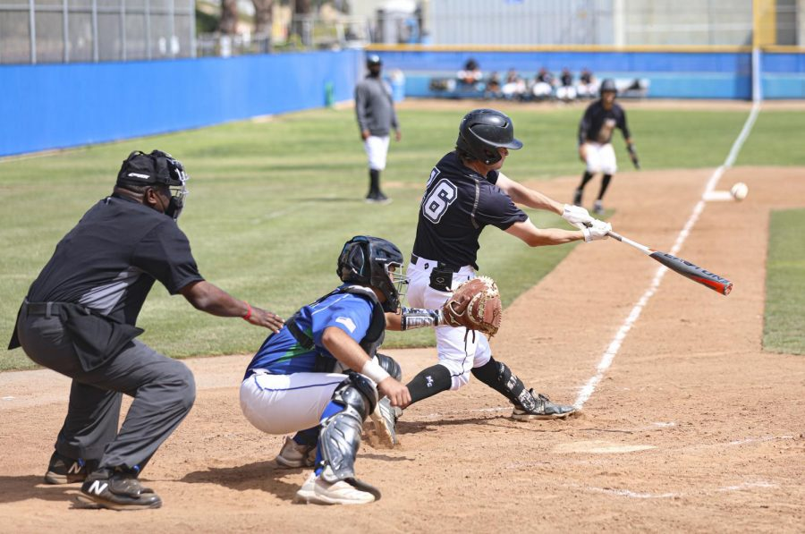 Moorpark Raider Connor Whitcomb swings at a pitch during the home game at Moorpark College against Oxnard College on Saturday, April 24, 2021. Photo credit: Ryan Bough
