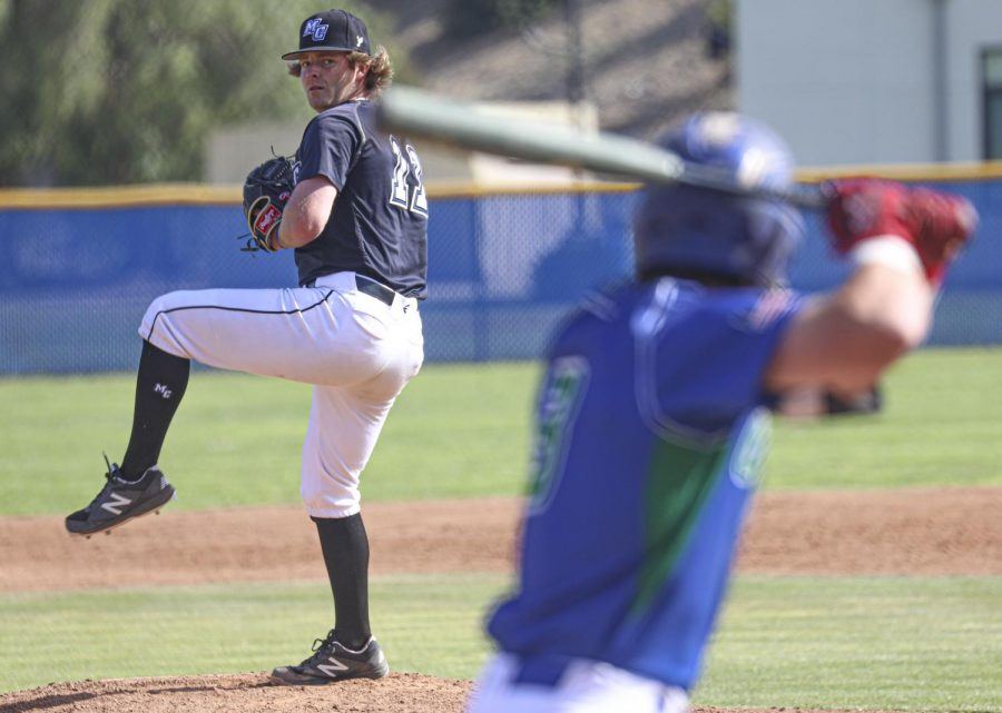 Pitcher DJ Vergini winds up a pitch against an Oxnard College batter during the home game at Moorpark College against Oxnard College on Saturday, April 24, 2021. The Raiders defeated the Condors 8-7 in the 9th inning. Photo credit: Ryan Bough
