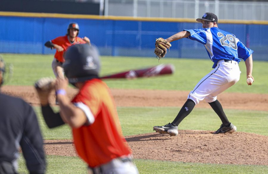 Moorpark pitcher Colin Mitchell winds up a pitch during the second game of the doubleheader at Moorpark College against Ventura College on Thursday, April 15, 2021. Moorpark was defeated by Ventura 10-1, brining them to 3-1 in the season. Photo credit: Ryan Bough