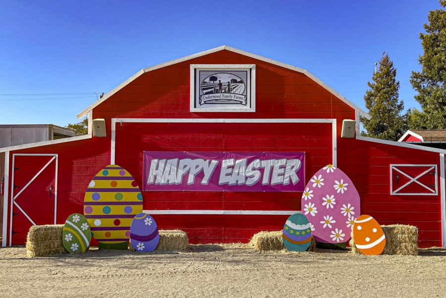 The Underwood Family Farm barn is decorated for Easter on March 27, 2021, in Moorpark, CA. Photo credit: Mikayla Gay