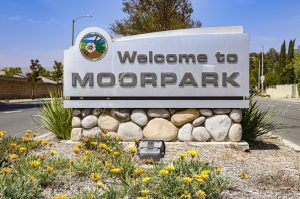 'Welcome to Moorpark' sign pictured on Princeton Ave on Tuesday, April 20, 2021 in Moorpark, CA. Photo credit: Emily Ledesma