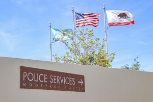 'Police Services' sign at the Moorpark Police Department pictured on Thursday, April 29, 2021 in Moorpark, CA. Photo credit: Emily Ledesma