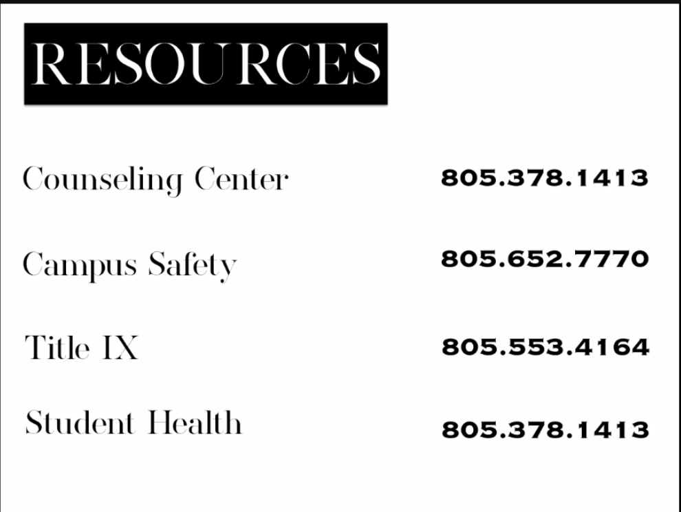 Resources provided at Moorpark College if anyone is ever going through something and are in need to talk to someone. Photos provided by ASMC.