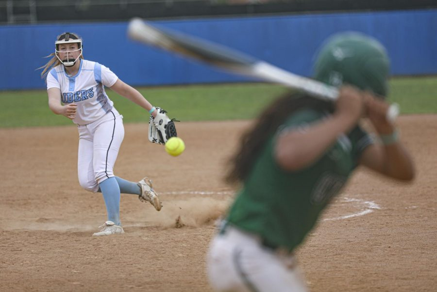 Moorpark Pitcher Seren Horton throws a pitch during a home game against Cuesta College on Thursday, April 22, 2021 at Moorpark, CA. Photo credit: Ryan Bough