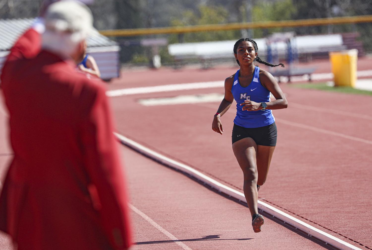 Elizabeth Sanchez completes a lap during the women's 3000 meter run at the first WSC meet of the season on Friday, April 16, 2021 in Moorpark, CA. Sanchez completed the run in 12:19:68, over a minute faster than her competitor.