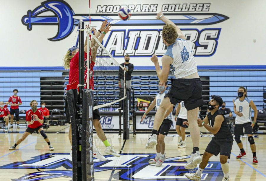 Michael Stahl jumps up for a kill against the Santa Barbara Vaqueros on Wednesday, April 21, 2021 at Moorpark College, CA. Photo credit: Ryan Bough