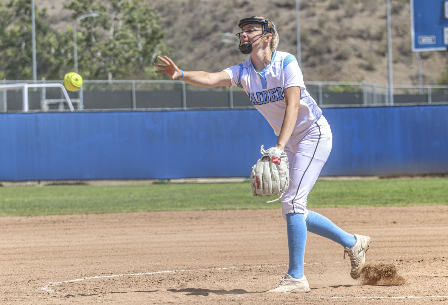 Freshman pitcher Madison Westerhouse throws a pitch during Moorpark College's home game against Bakersfield College on May 8, 2021.