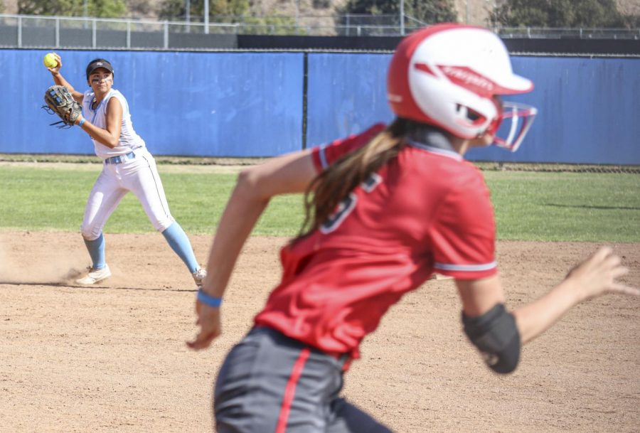 Shortstop Alahna Long beats the runner to first off a ground ball during Moorparks home game versus the Bakersfield Renegade on May 8, 2021. Photo credit: Danny Stipanovich