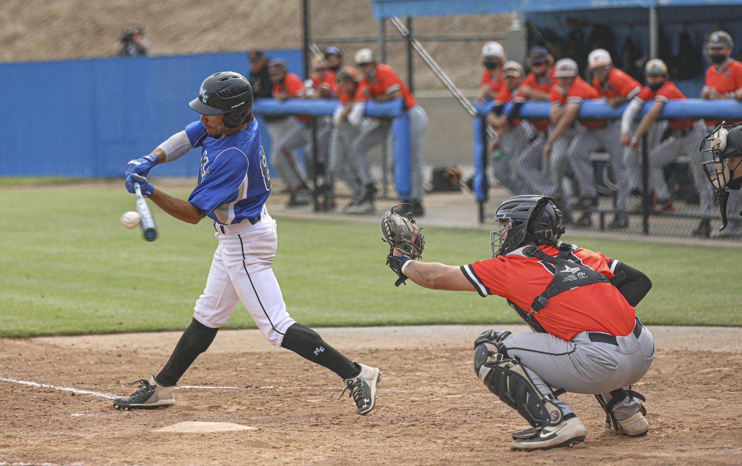 Nate Martinez makes contact with a pitch during the second game of the double header against the Ventura College Pirates on Saturday, May 1, 2021 in Moorpark, CA.