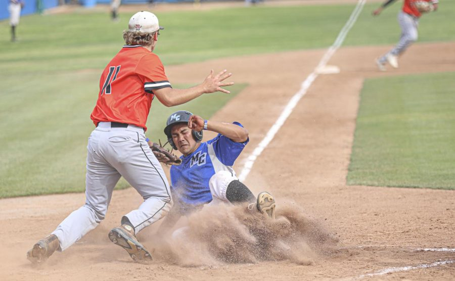 Moorpark Raider Andrew Tarazon slides into home plate during the second game of the doubleheader against the Ventura College Pirates at Moorpark College, CA. on Saturday, May 1, 2021. Photo credit: Ryan Bough