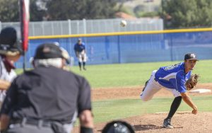 Moorpark Pitcher Colin Mitchell follows through on a pitch to an Antelope Valley batter during the second game of the double header on Saturday, May 22, 2021 in Moorpark, CA. The Raiders defeated Antelope Valley 4-0 in both games. Photo credit: Rachel Franklin
