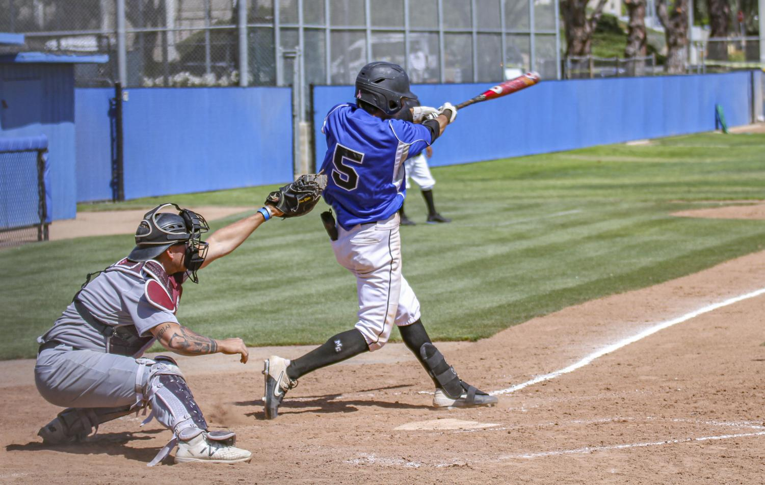 Player 5, Shane Leong-Griegor, batting at the Moorpark VS Antelope Valley double header game on May 22.