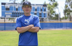 Lance Kinross poses for a photo on the Moorpark College baseball field after practice on May 28, 2021 in Moorpark, CA. Photo credit: Ryan Bough